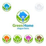 Дизайн логотипа зеленые домашние логотип, вектор недвижимости с домом, лист и экологичность формируют Стоковые Изображения