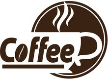 Дизайн логотипа кофейни Стоковое фото RF
