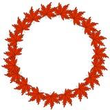 Дизайн логотипа осени сети венок осени, круглая рамка покрашенных листьев осени и ягоды Элементы флористического дизайна иллюстрация вектора