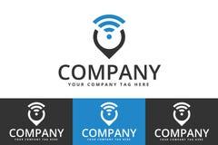 Дизайн логотипа положения Wifi изолированный на белой предпосылке бесплатная иллюстрация