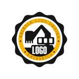 Дизайн логотипа Backhoe, иллюстрация боевого выстрела оборудования экскаватора желтая и черная ярлыка вектора Стоковая Фотография RF