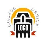 Дизайн логотипа Backhoe, иллюстрация вектора ярлыка обслуживания оборудования экскаватора Стоковые Изображения RF