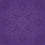 Дизайн мандалы моды фиолетовой фиолетовой предпосылки картины цветков винтажной безшовной флористической ультрамодный иллюстрация штока