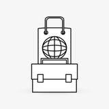 Дизайн маркетинга цифров интернет принципиальной схемы цвета предпосылки голубой Значок стратегии Стоковая Фотография