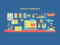 Дизайн маркетинга цифров плоский иллюстрация штока
