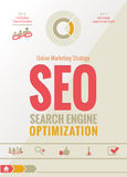 Дизайн маркетинговой стратегии SEO онлайн Стоковое Изображение RF