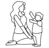 Дизайн матери и сына бесплатная иллюстрация