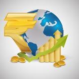 Дизайн международной экономики Значок денег изолированная иллюстрация руки кнопки нажимающ женщину старта s Стоковые Изображения