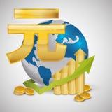 Дизайн международной экономики Значок денег изолированная иллюстрация руки кнопки нажимающ женщину старта s Стоковое Изображение