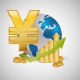 Дизайн международной экономики Значок денег изолированная иллюстрация руки кнопки нажимающ женщину старта s Стоковое фото RF