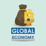 Дизайн международной экономики Значок денег изолированная иллюстрация руки кнопки нажимающ женщину старта s Стоковое Фото