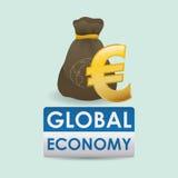 Дизайн международной экономики Значок денег изолированная иллюстрация руки кнопки нажимающ женщину старта s Стоковая Фотография