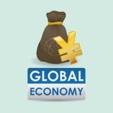 Дизайн международной экономики Значок денег изолированная иллюстрация руки кнопки нажимающ женщину старта s Стоковое Изображение RF