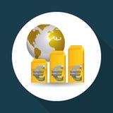 Дизайн международной экономики Значок денег изолированная иллюстрация руки кнопки нажимающ женщину старта s Стоковые Фотографии RF