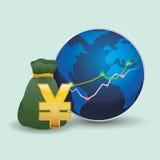 Дизайн международной экономики Значок денег изолированная иллюстрация руки кнопки нажимающ женщину старта s Стоковые Изображения RF