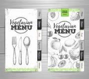 Дизайн меню еды винтажного grunge вегетарианский иллюстрация вектора