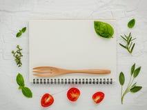 Дизайн меню еды предпосылки и еды Различный ингридиент трав Стоковые Изображения