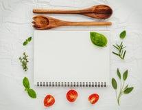 Дизайн меню еды предпосылки и еды Различный ингридиент трав Стоковая Фотография
