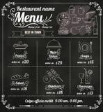 Дизайн меню еды ресторана с вектором fo предпосылки доски Стоковая Фотография RF
