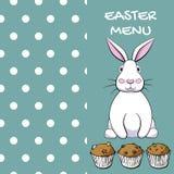 Дизайн меню пасхи с кроликом и булочками в векторе EPS8 Стоковые Изображения