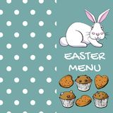 Дизайн меню пасхи с хлебопекарней кролика и помадки в векторе EPS8 Стоковое Изображение RF
