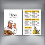 Дизайн меню при итальянский шеф-повар служа свеже испеченная пицца иллюстрация штока