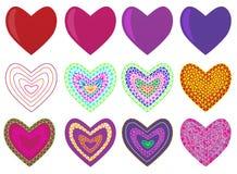 Дизайн мозаики геометрический установил с сердцами ` s валентинки бесплатная иллюстрация