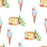 Дизайн мороженого и кофе картины акварели безшовный на белой предпосылке бесплатная иллюстрация