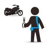 Дизайн мотоцикла Икона перевозки изолированная иллюстрация руки кнопки нажимающ женщину старта s Стоковое фото RF