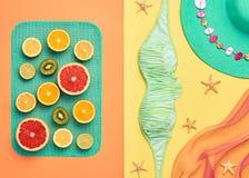 Дизайн моды Тропический комплект лета яркий цвет Стоковые Изображения RF