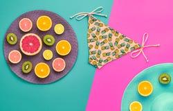 Дизайн моды Тропический комплект лета яркий цвет Стоковая Фотография RF