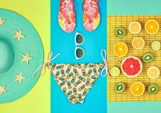 Дизайн моды Тропический комплект лета яркий цвет стоковые фотографии rf