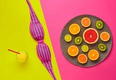 Дизайн моды Тропический комплект лета яркий цвет Стоковое Изображение RF