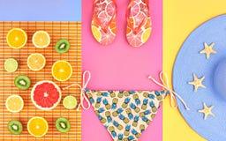 Дизайн моды Тропический комплект лета яркий цвет Стоковое фото RF