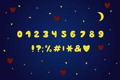 Дизайн мультфильма алфавита, стиль луны Номера и знаки препинания 10 eps иллюстрация вектора