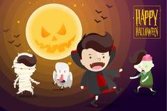 Дизайн мультфильма в концепции торжества дня хеллоуина с милым мультфильмом нося костюмы призрака иллюстрация штока