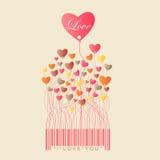 Дизайн на день валентинки с сердцем цвета полным растет от Иллюстрация штока