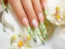 Дизайн ногтя искусства флористический Стоковые Изображения