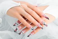 Дизайн ногтя свадьбы Стоковая Фотография