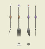 Дизайн ножа и фольклорных отличая ручек спирали и камней самоцвета Стоковые Изображения RF