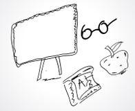 Дизайн объектов или значков школы эскиза руки Стоковые Фотографии RF