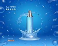 Дизайн объявлений тонера льда косметический разлейте брызг по бутылкам иллюстрация штока