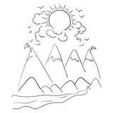 Дизайн облаков и солнца гор Стоковое фото RF