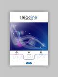 Дизайн A4 обложки книги с голубыми абстрактными линиями и кругами Стоковое Изображение