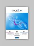 Дизайн A4 обложки книги с голубыми абстрактными линиями и кругами Стоковое Фото