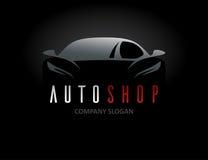Дизайн логотипа автомобиля автоматического магазина с концепцией резвится силуэт корабля иллюстрация вектора