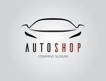 Дизайн логотипа автомобиля автоматического магазина с концепцией резвится силуэт корабля Стоковое Фото