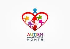 Дизайн логотипа аутизма иллюстрация вектора