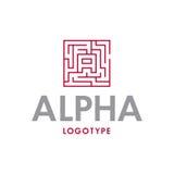 Дизайн логотипа альфы Стоковое Изображение RF
