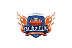 Дизайн логотипа значка футбола Ярлык идентичности команды спорта футболки Стоковое Фото